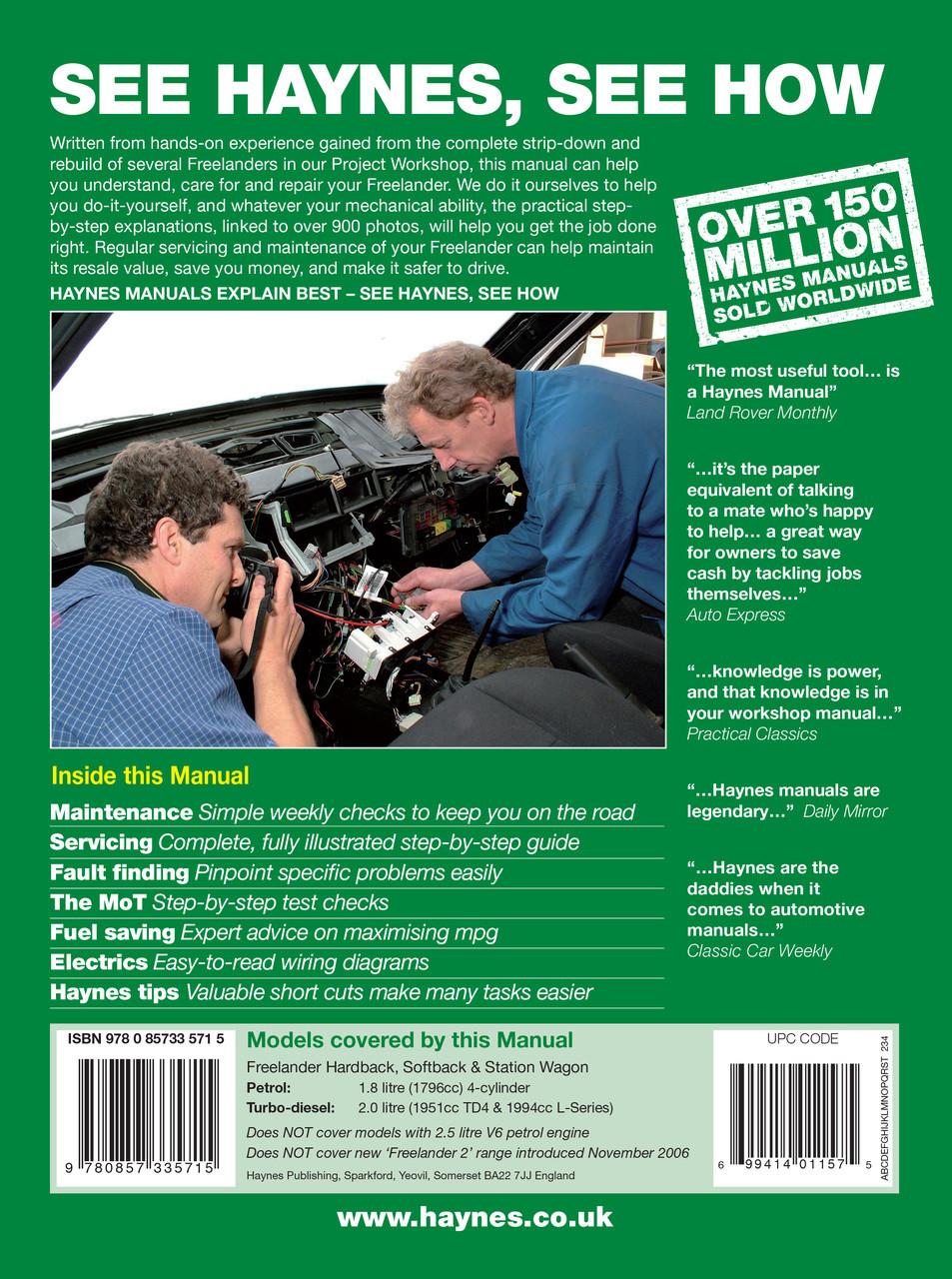 Land Rover Freelander Petrol & Diesel 1997 - 2006 Workshop Manual