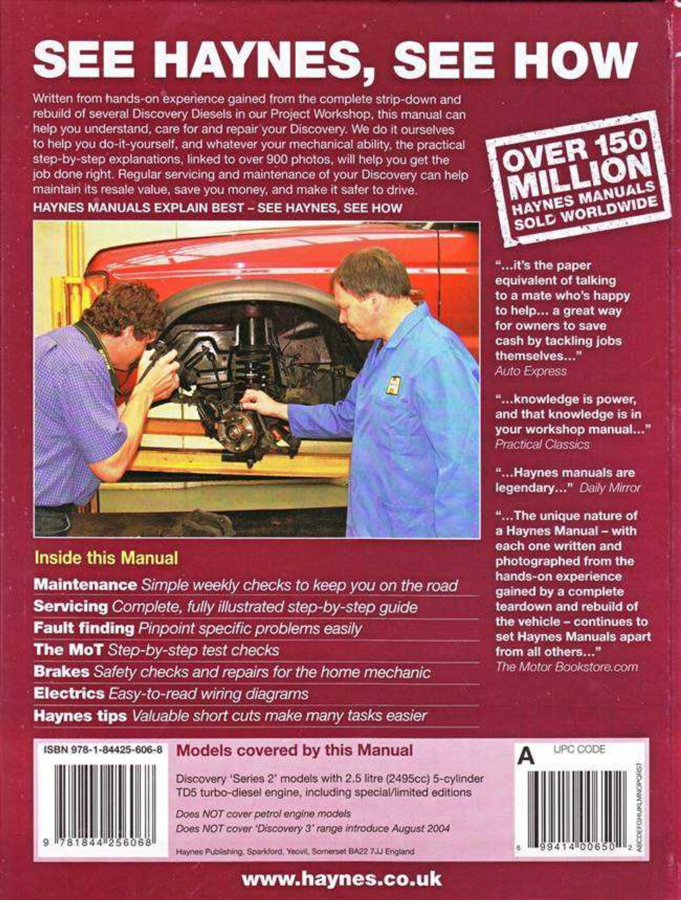 Land Rover Discovery Diesel 1998 - 2004 Workshop Manual