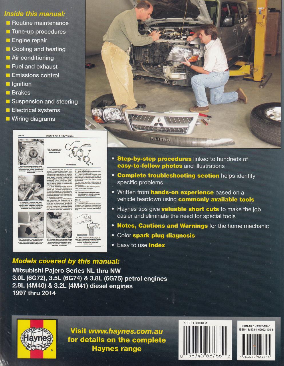 Mitsubishi Pajero NL, NM, NP, NS, NT, NW,petrol and diesel 1997 - 2014  Workshop Manual