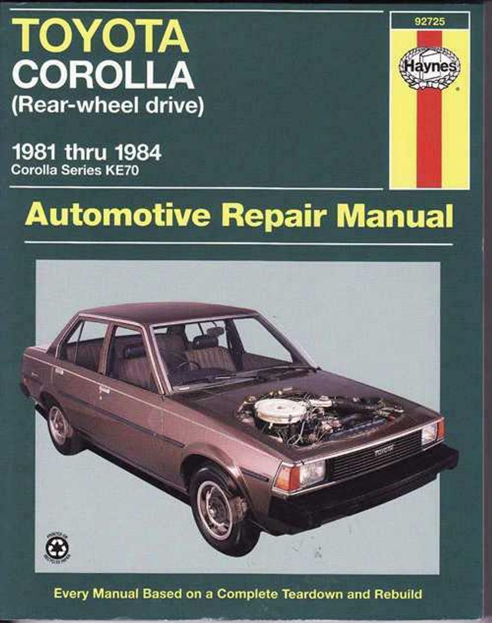 Toyota Corolla Ke70 Series Rwd 1981 1984 Workshop Manual
