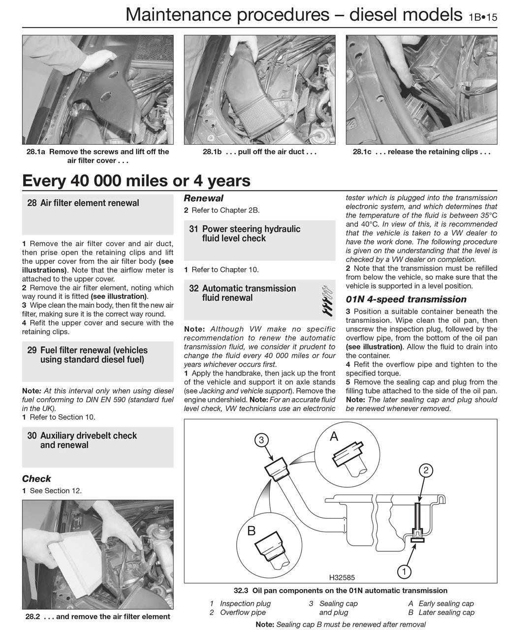 Volkswagen Passat Petrol & Diesel 2000 - 2005 Haynes Workshop Manual