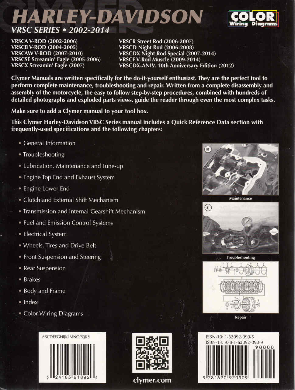 harley-davidson vrsc series 2002 - 2014 workshop manual