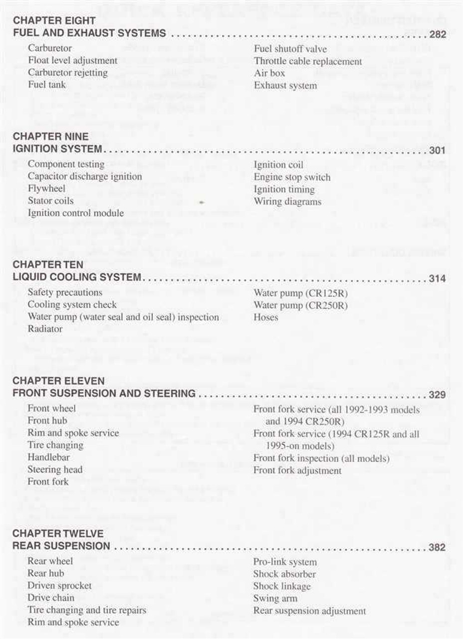 Honda CR125R and CR250R 1992 - 1997 Workshop Manual
