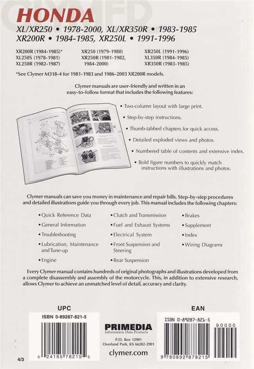 Peachy Honda Xl250 Xr250 Xl350R Xr350R Xr200R Xr250L 1978 2000 Workshop Manual Wiring 101 Mecadwellnesstrialsorg