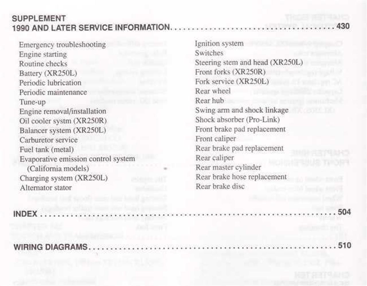 Honda XL250 / XR250, XL350R / XR350R, XR200R, XR250L 1978 - 2000 Workshop  Manual