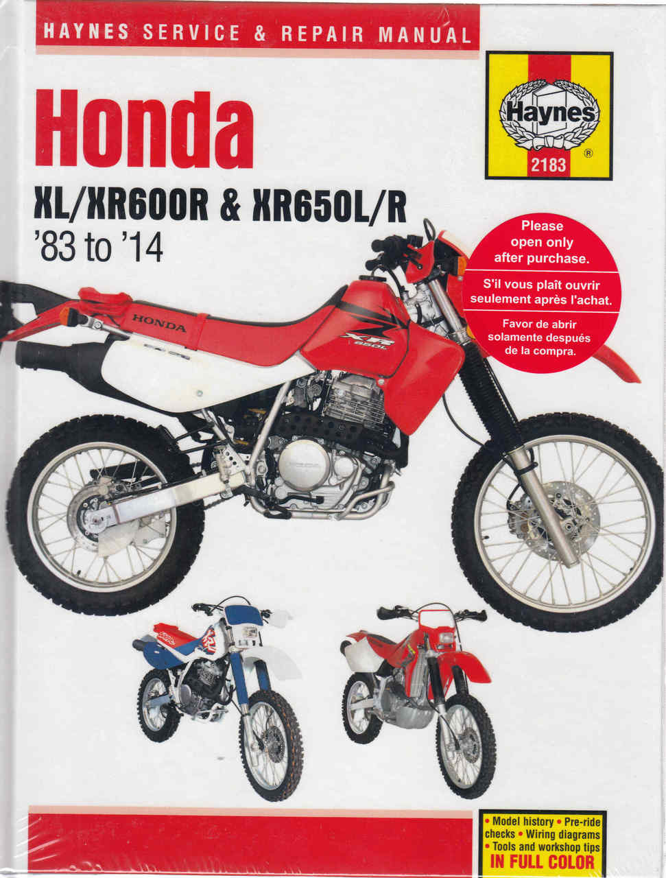 Honda XL600R, XR600R, XR650L, XR650R 1983 - 2014 Workshop Manual on