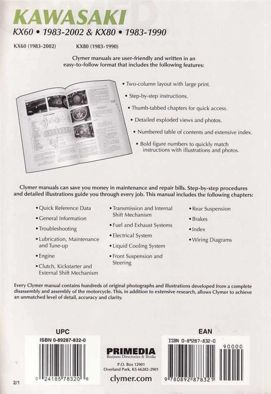 Kawasaki KX60 and KX80 1983 - 2002 Workshop Manual on