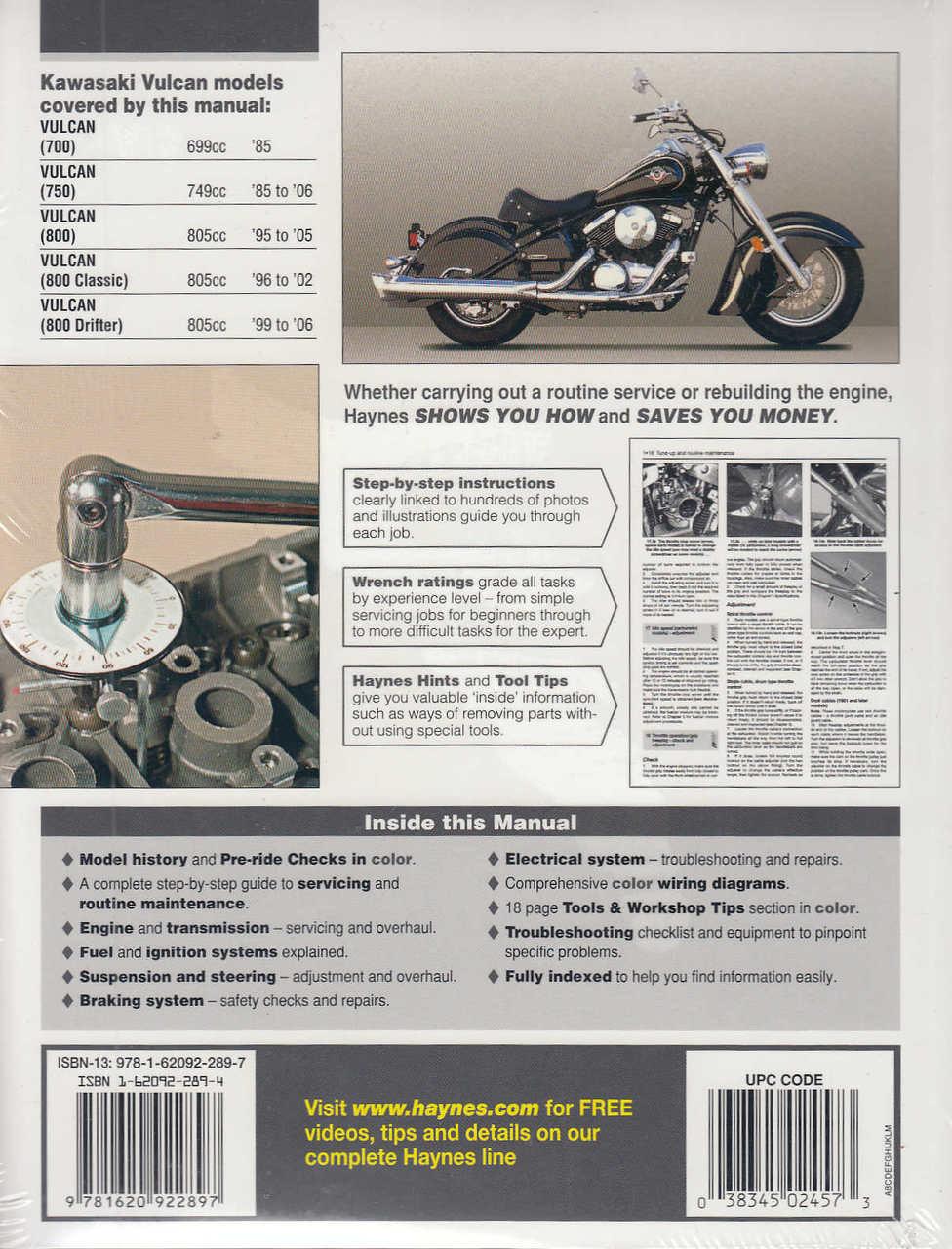 Kawasaki Vulcan 700, 750 and 800 1985 - 2006 Workshop Manual on