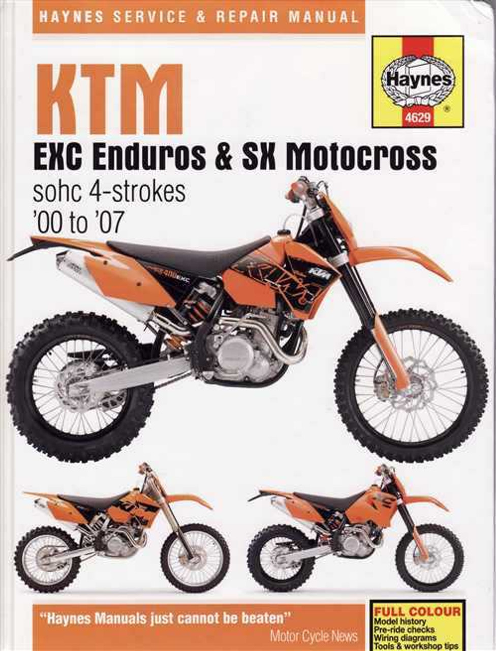 KTM EXC Enduros and SX Motocross SOHC 4 - strokes 2000 - 2007 Workshop  Manual