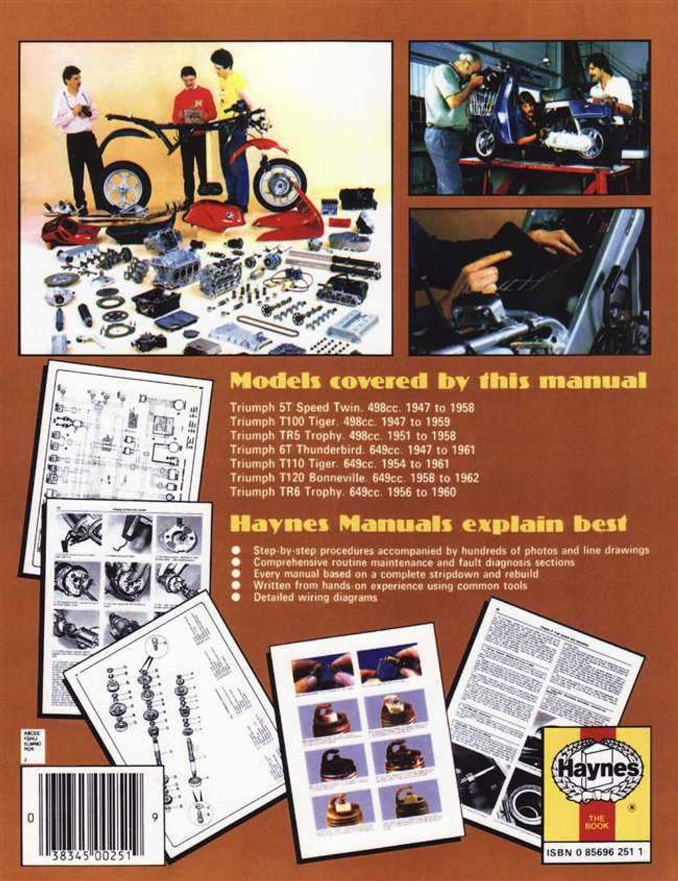 Triumph TR6 650 Trophy 1956-1960 Haynes Service Repair Manual 0251
