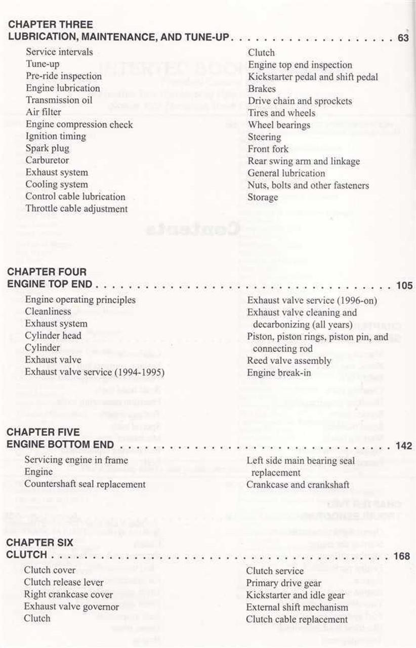 Yamaha YZ125 1994 - 2001 Workshop Manual