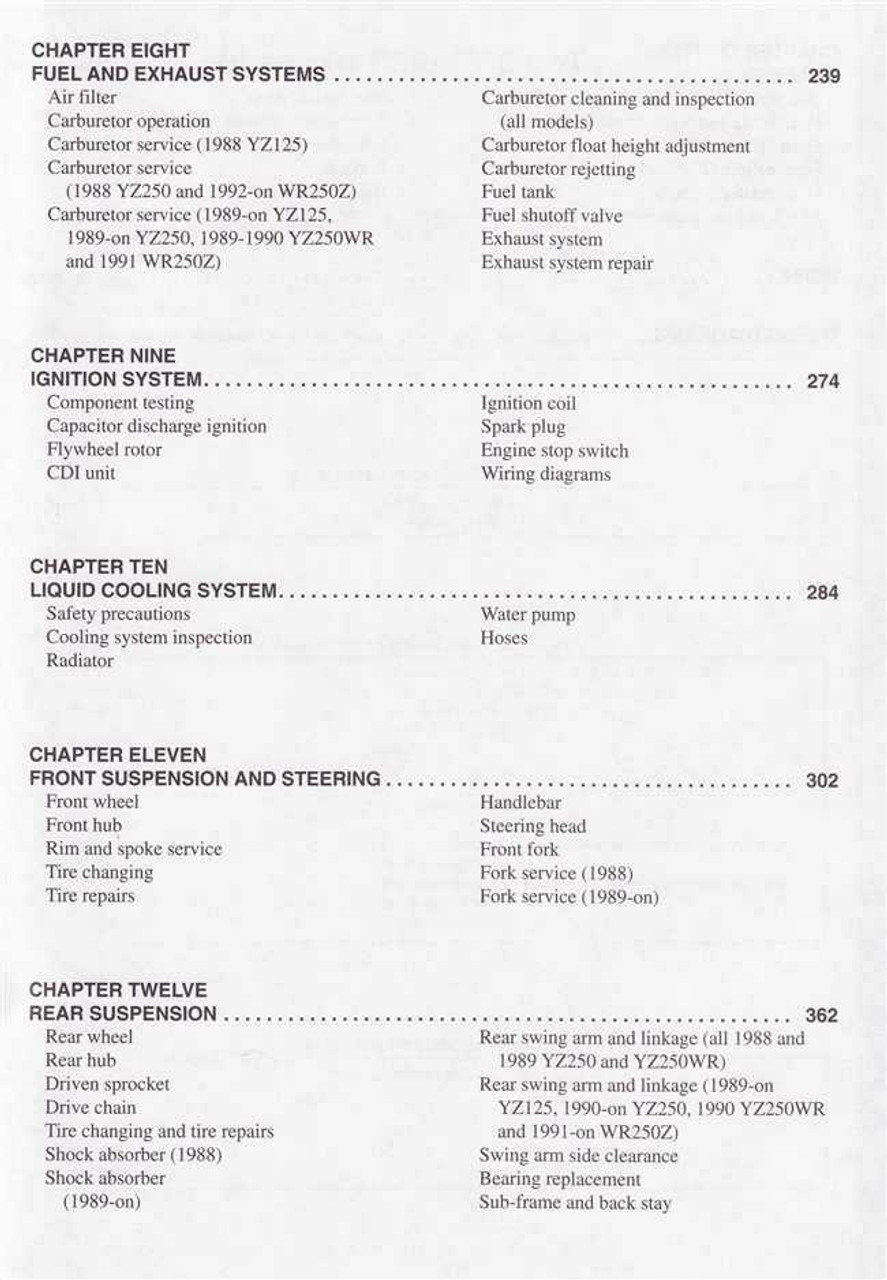 yamaha yz125 service manual repair 1999 yz 125