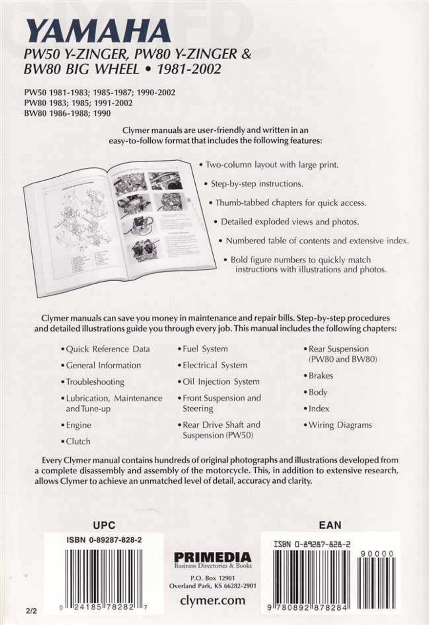 Yamaha PW50 and PW80 Y-Zinger, BW80 Big Wheel 1981 - 2002 Workshop Manual