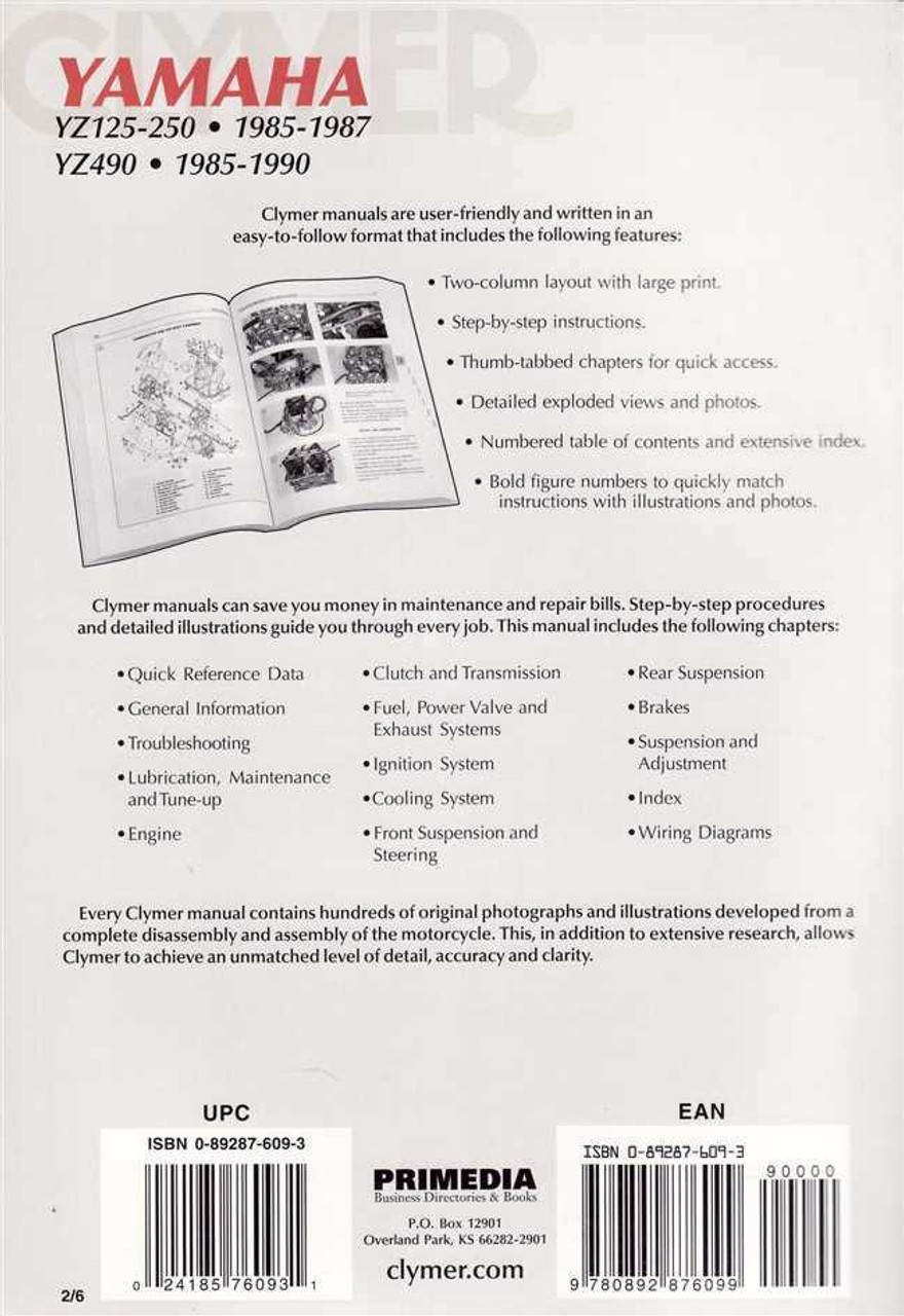 Yamaha YZ125, YZ250 and YZ490 1985 - 1990 Workshop Manual on transformer diagrams, sincgars radio configurations diagrams, gmc fuse box diagrams, internet of things diagrams, battery diagrams, hvac diagrams, switch diagrams, electrical diagrams, electronic circuit diagrams, series and parallel circuits diagrams, lighting diagrams, motor diagrams, honda motorcycle repair diagrams, smart car diagrams, troubleshooting diagrams, friendship bracelet diagrams, led circuit diagrams, pinout diagrams, engine diagrams,