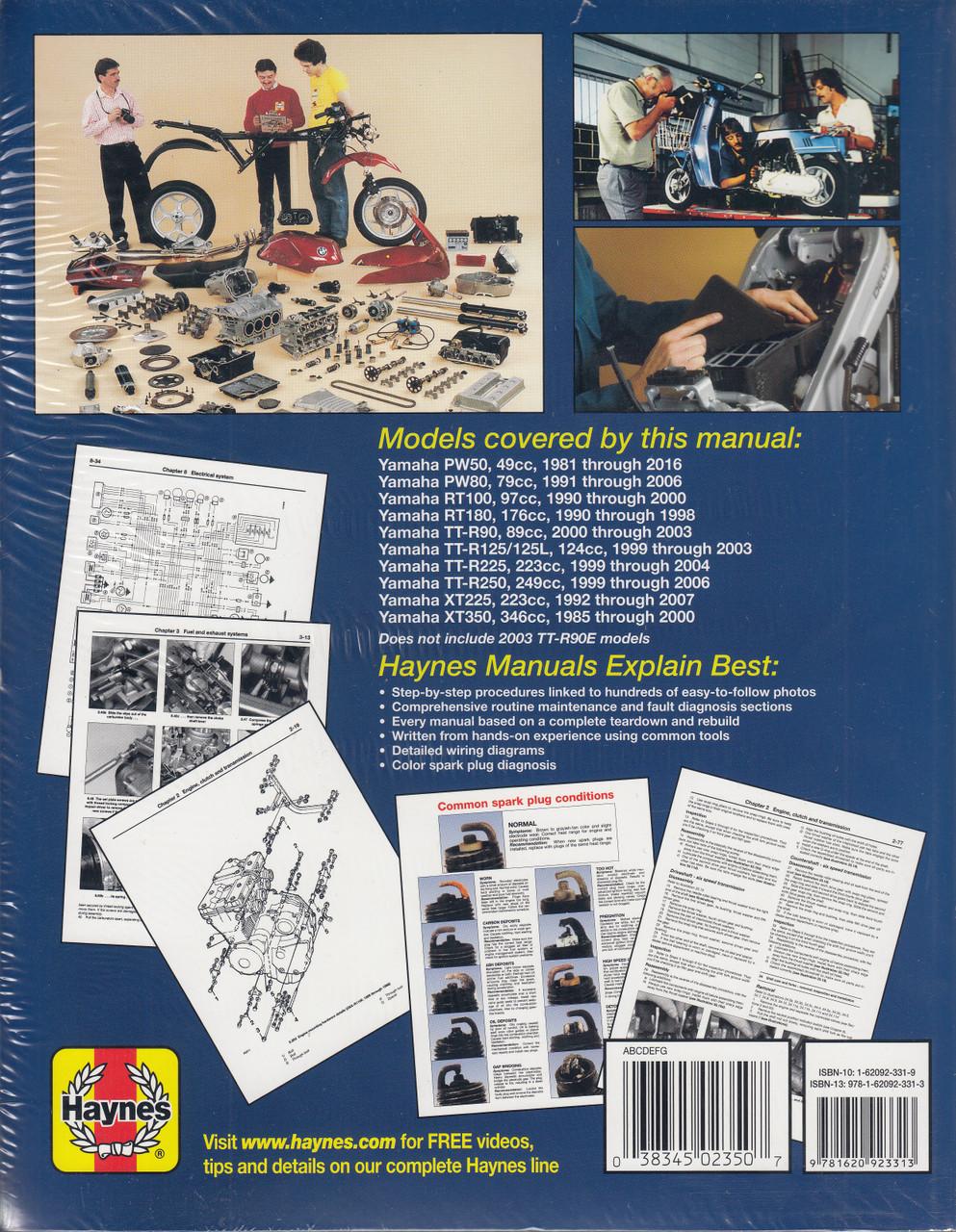 yamaha trail bikes pw, rt, tt-r, xt225 and xt350 1981 - 2016 workshop manual  (haynes, m2350)