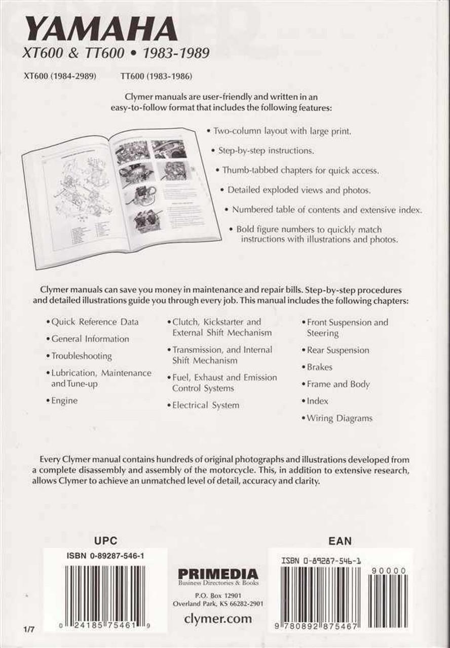 Yamaha XT600 and TT600 1983 - 1989 Workshop Manual on
