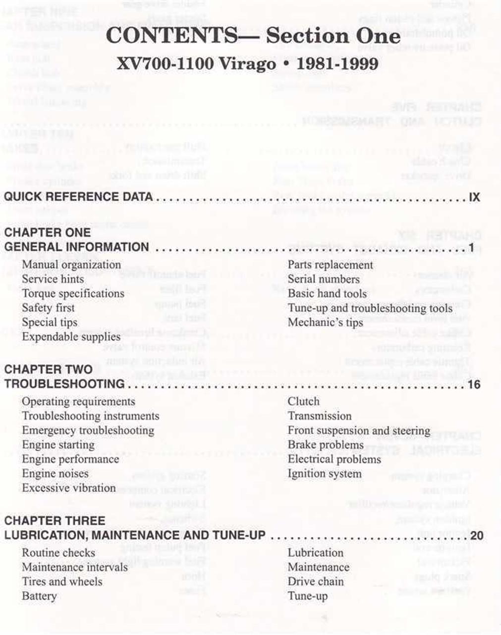 Yamaha XV535, XV700, XV750, XV920, XV1000, XV1100 Virago 1981 - 2003  Workshop Manual