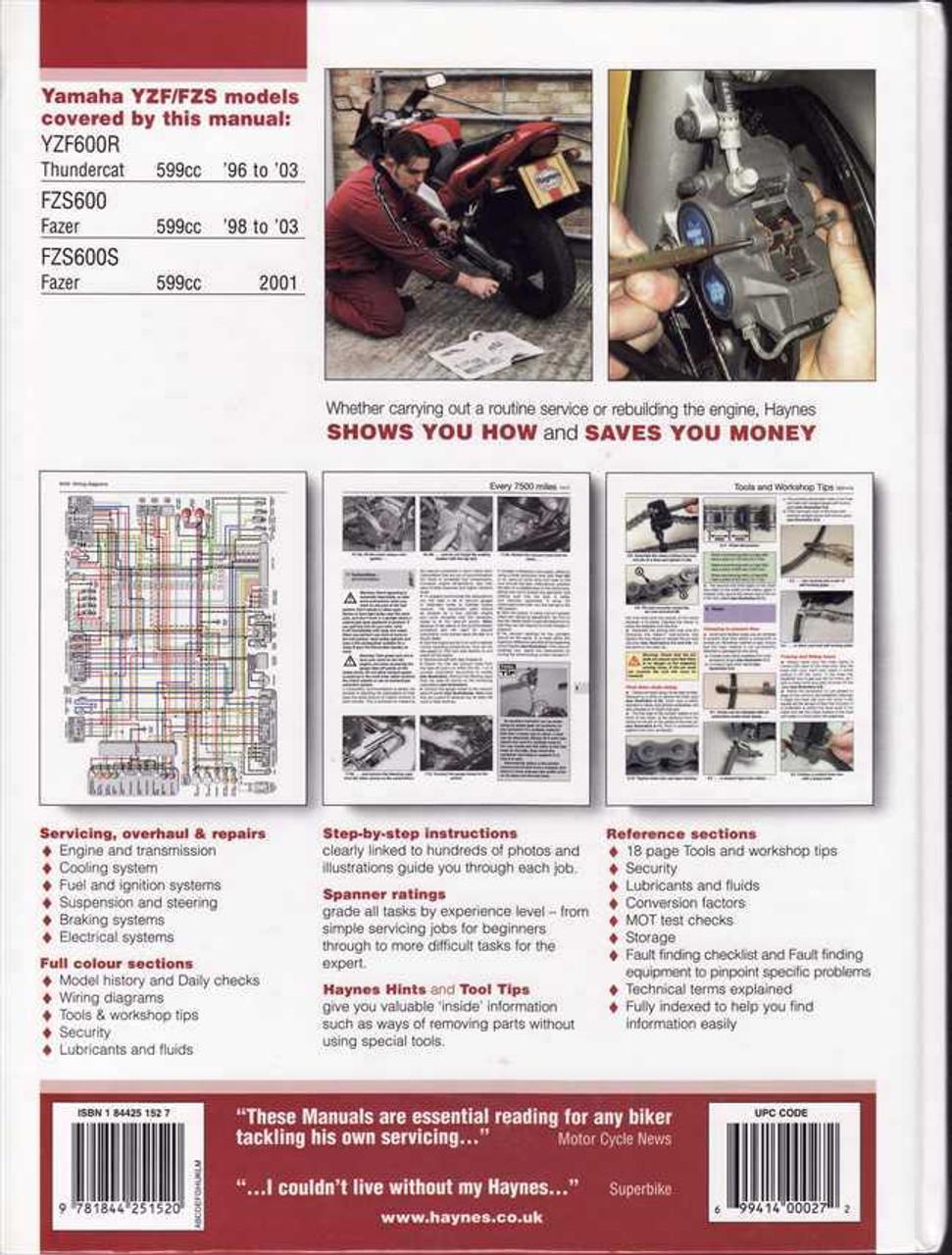 yamaha yzf600r thundercat, fzs600, fzs600s fazer 1996 - 2003 workshop manual