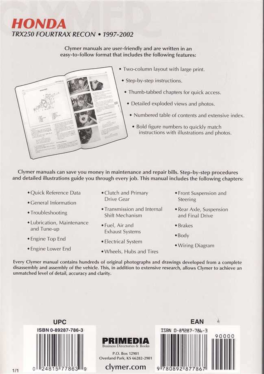 Clymer Repair Manuals for Honda TRX 400EX 1999-2008