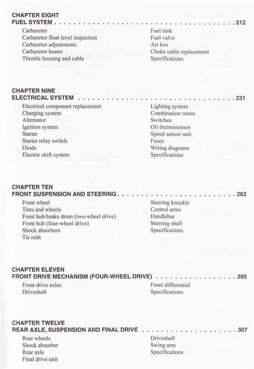 Honda TRX350 Rancher ATVs 2000 - 2006 Workshop Manual