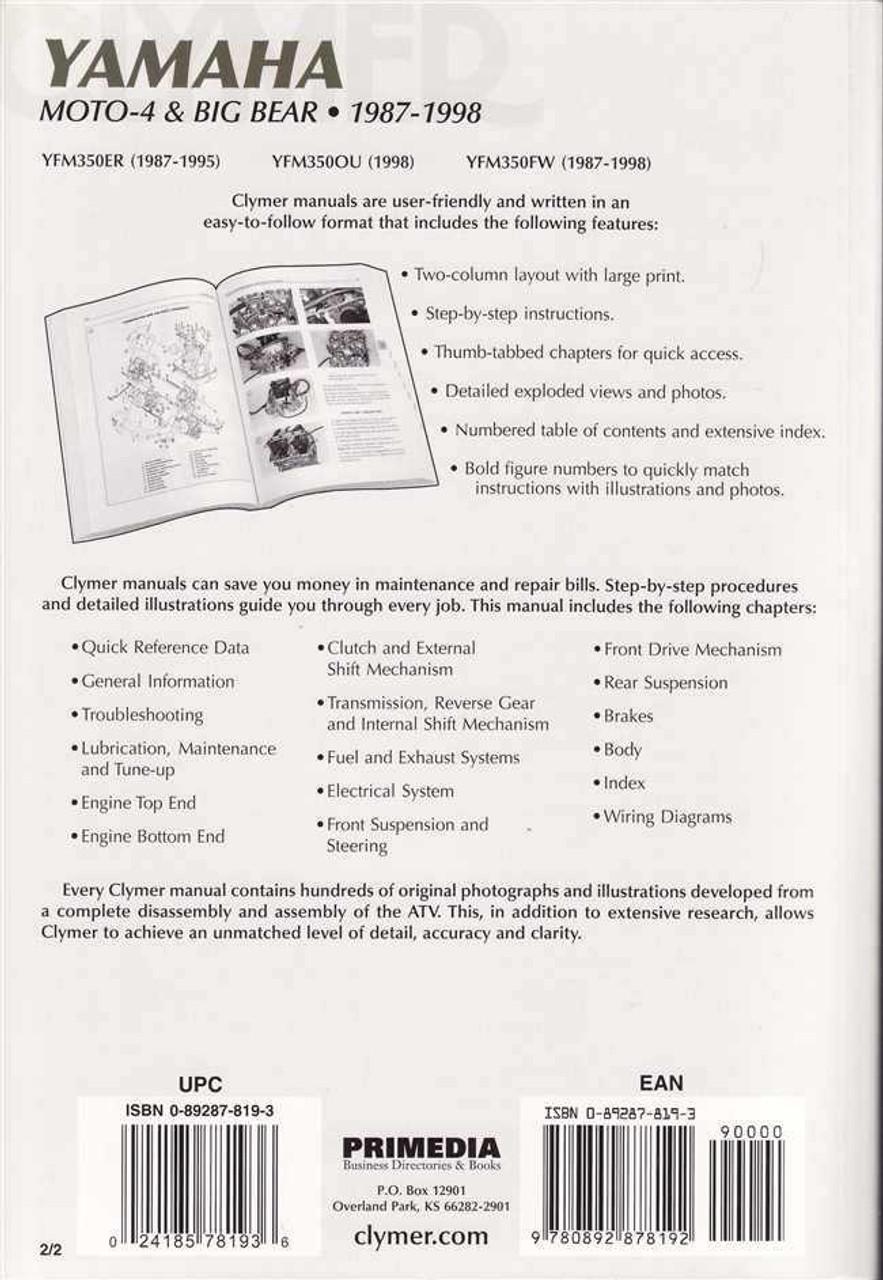 Motorcycle Manuals & Literature Yamaha YFM 350 Big Bear ... on