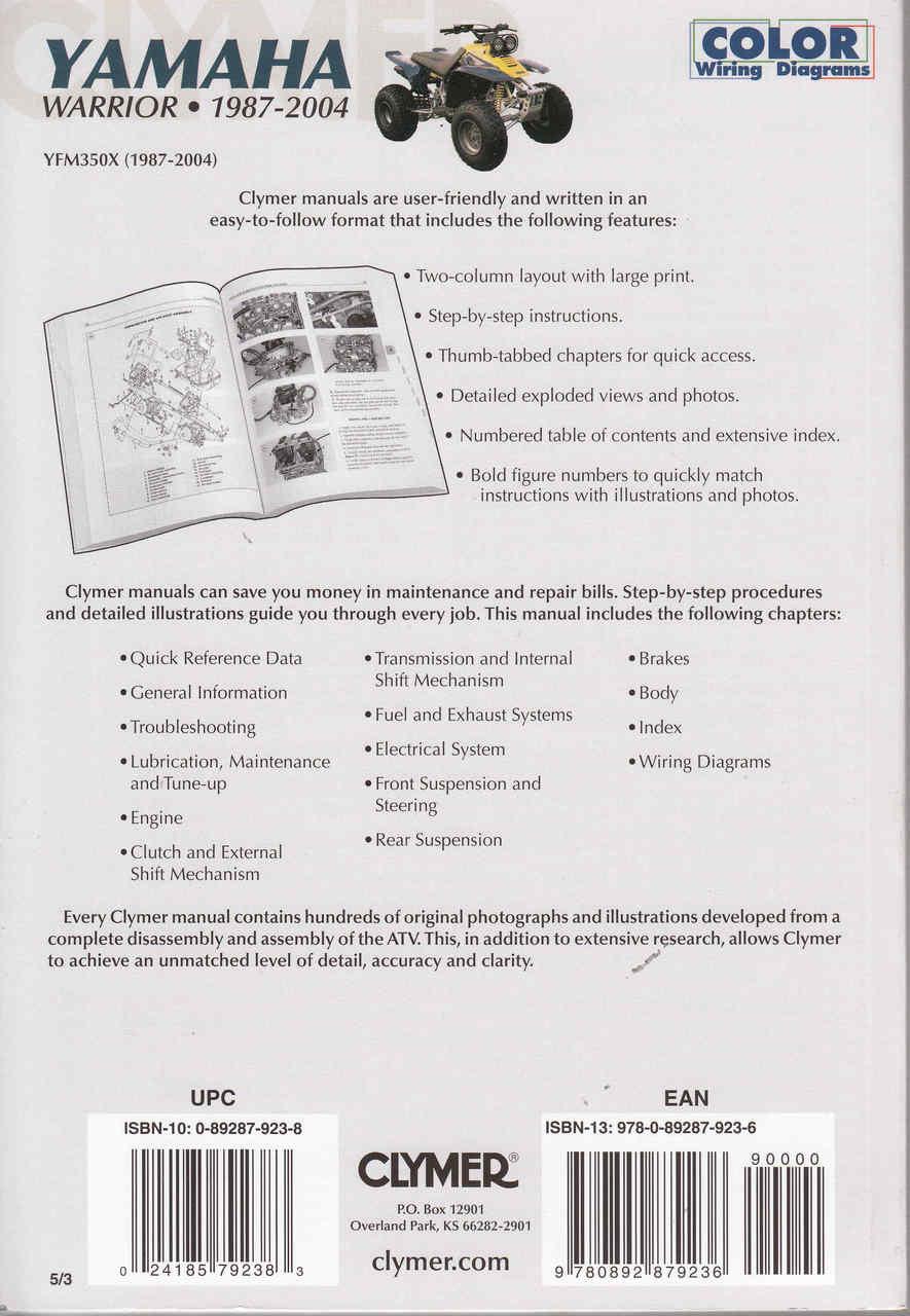 1999 yamaha warrior atv service repair maintenance overhaul manual