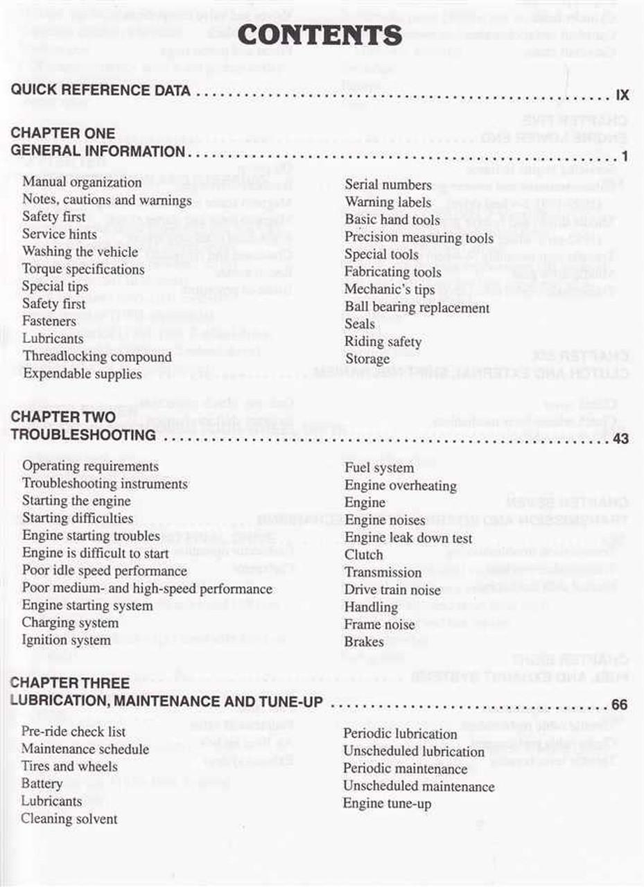 Yamaha YFM250, YFB250, YFB250FW Timberwolf ATVs 1989 - 2000 Workshop Manual