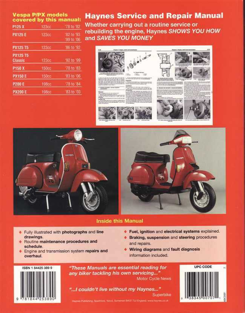 Vespa P125, PX125, P150, PX150, P200 and PX200 Scooters 1978 - 2006 on