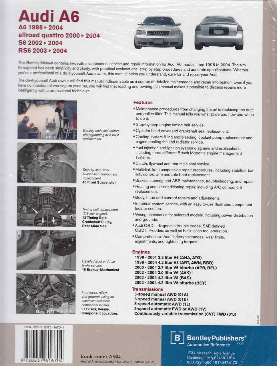Audi A6, S6, Allroad Quattro, RS6 1998 - 2004 Service Manual