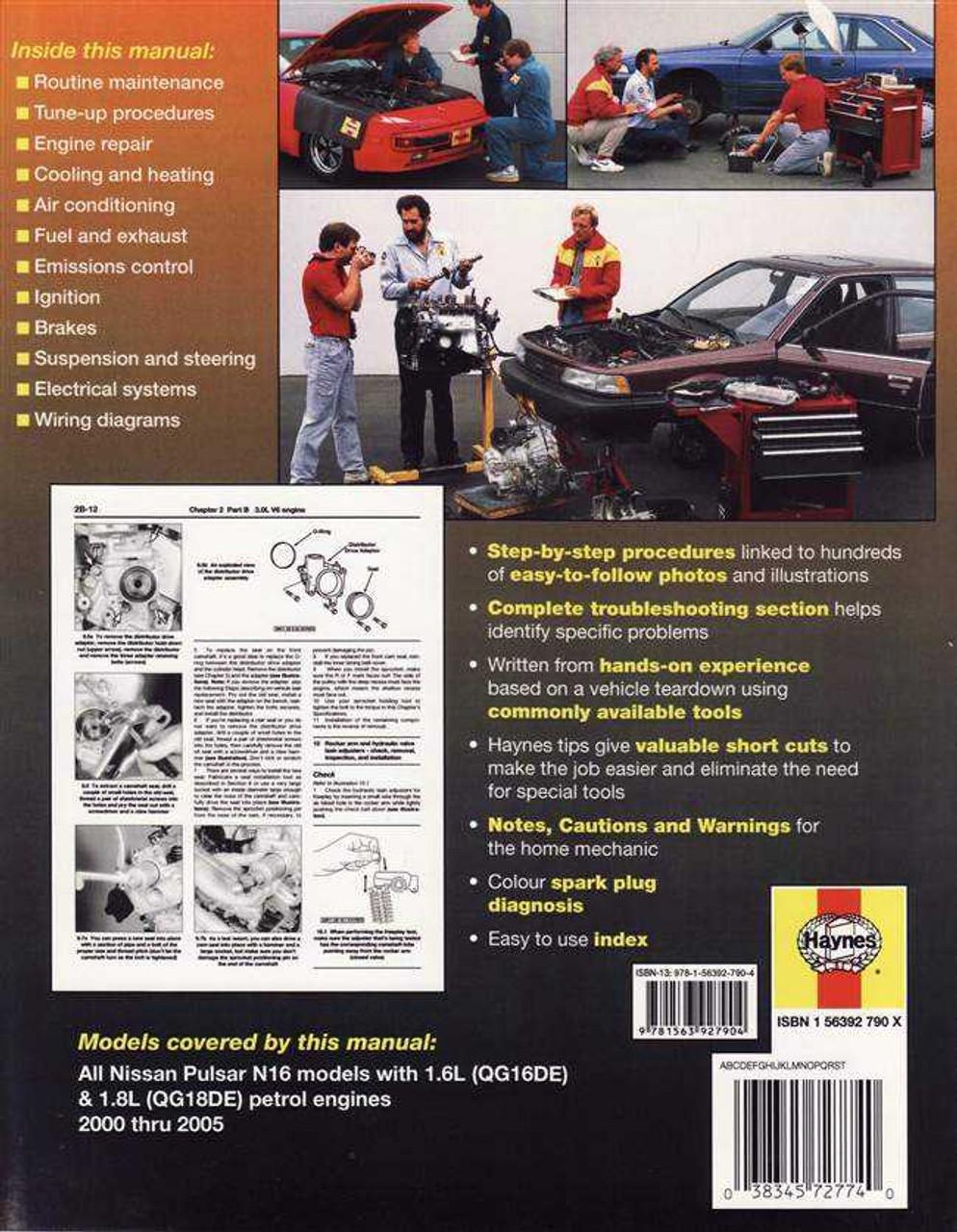 Nissan Pulsar N16 Series 1 6L, 1 8L Petrol 2000 - 2005 Workshop Manual