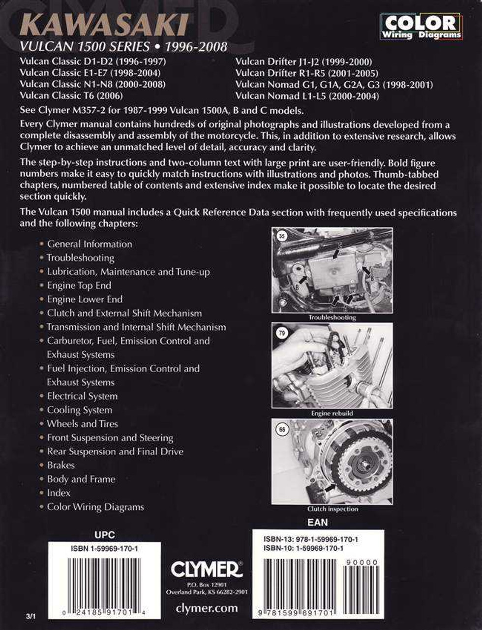 Kawasaki Vulcan 1500 Series Clic, Drifter, Nomad 1996 - 2008 Workshop on