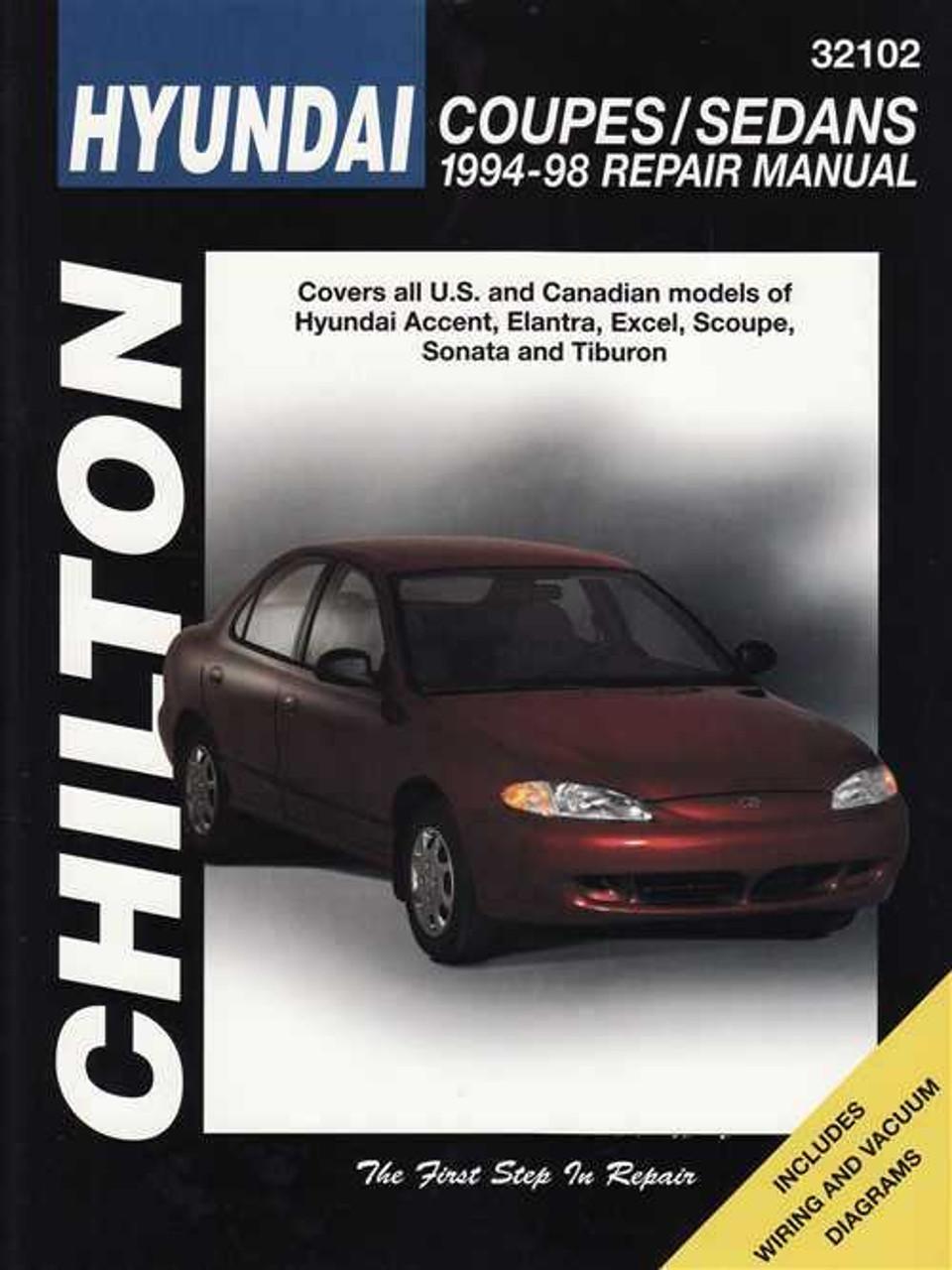 hyundai accent, elantra, excel, scoupe, sonata 1994 - 1998 workshop manual