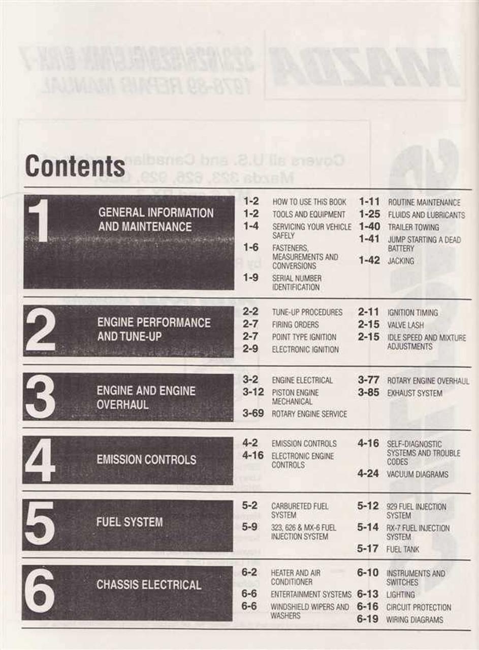 Mazda 323, 626, 929, GLC, MX-6, RX-7 1978 - 1989 Workshop Manual