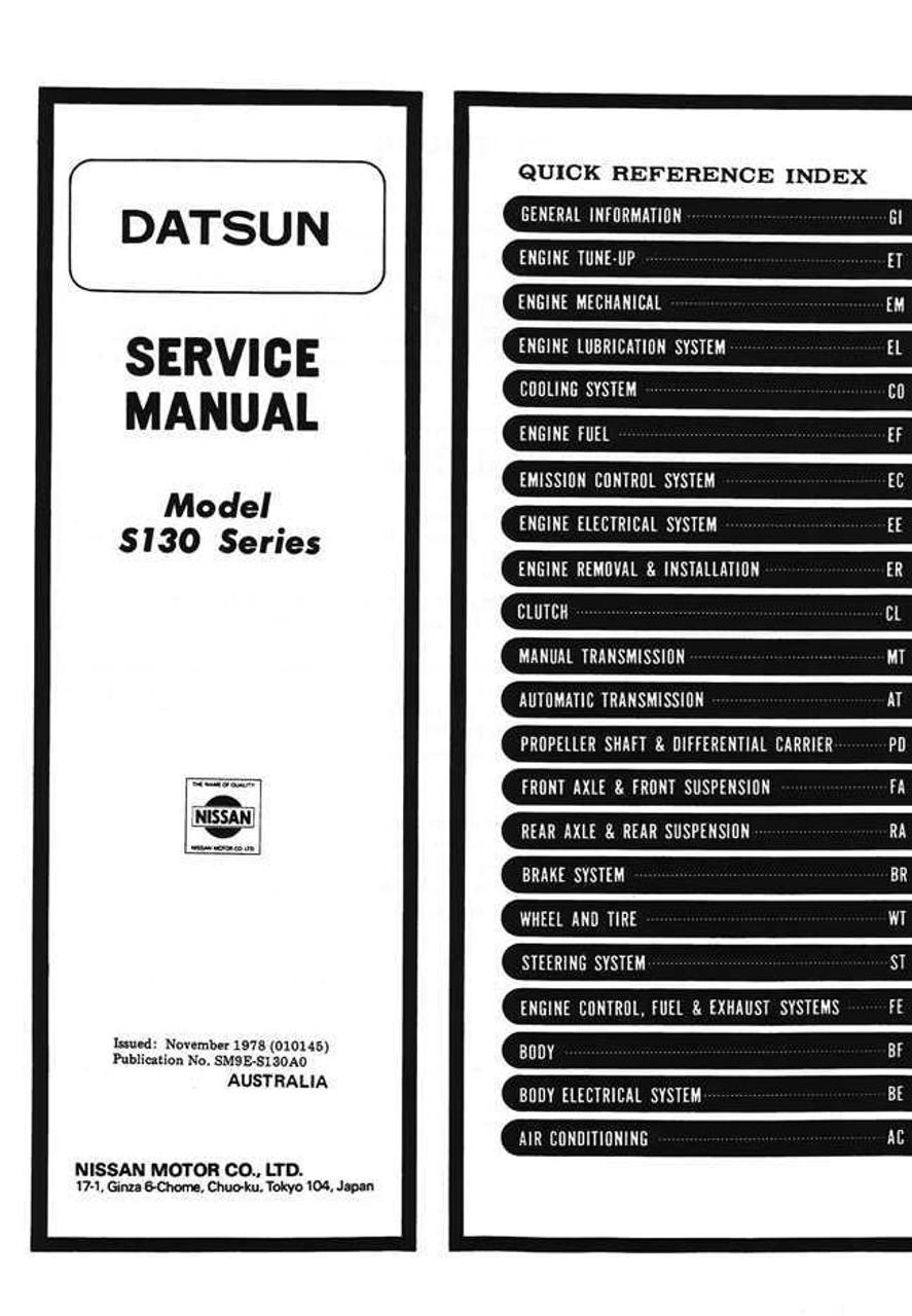 nissan datsun 280zx s130 1979 1983 repair service manual