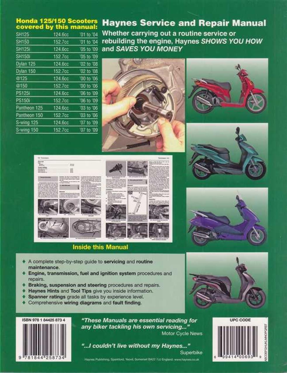 honda 125/150 sh, dylan, @, ps, pantheon, s-wing 2000 - 2009 workshop manual