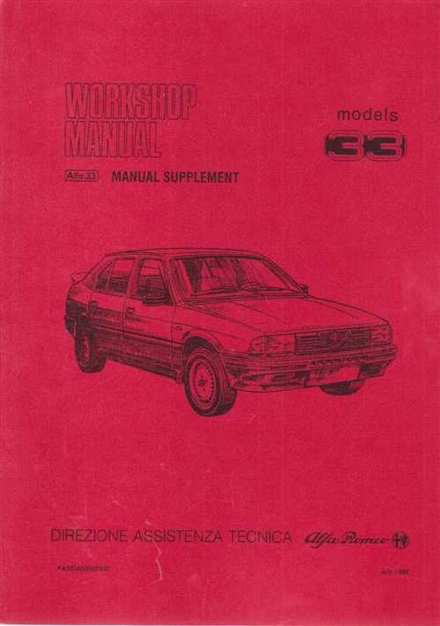 Alfa Romeo 33 Workshop Manual Supplement Vol. 1 on