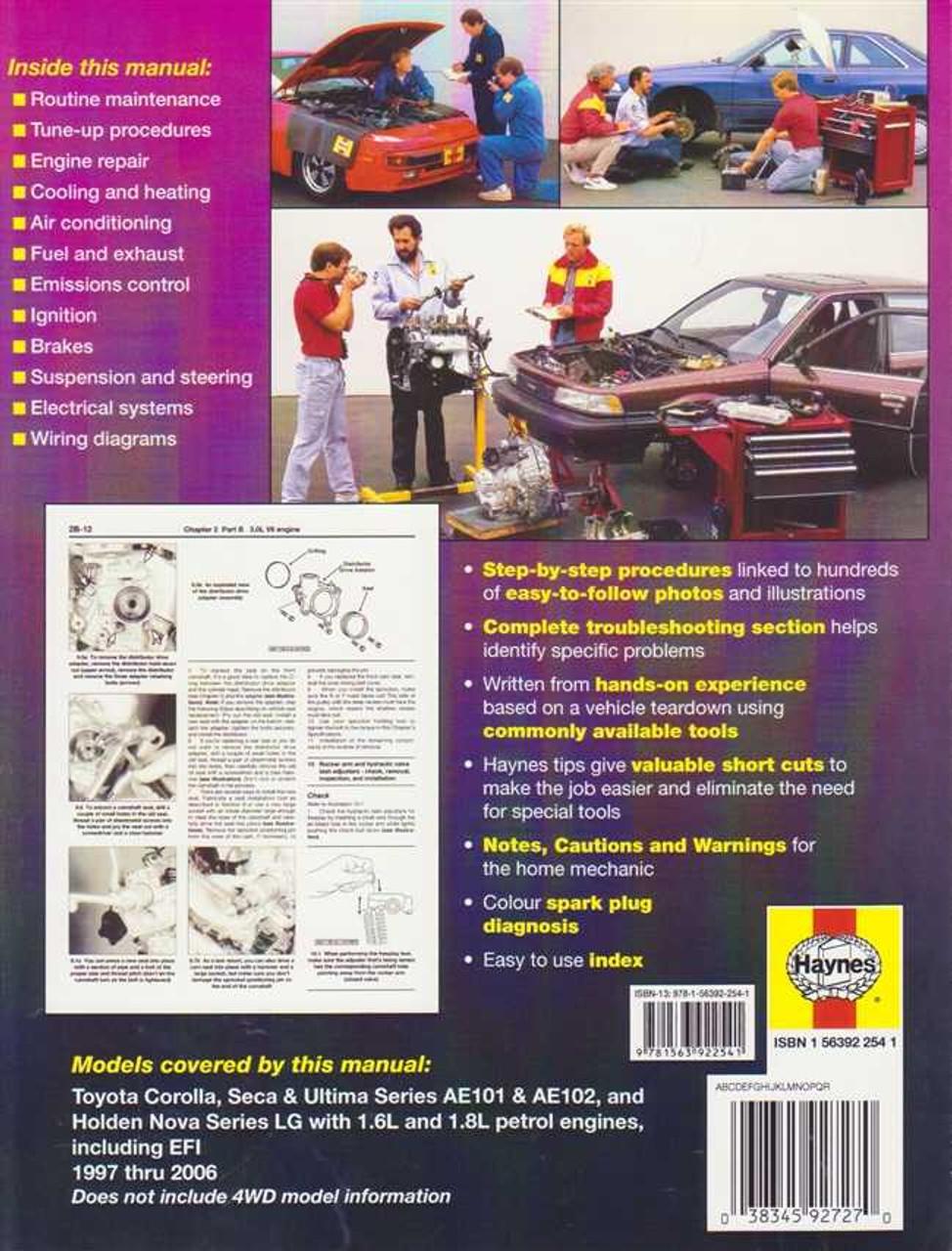 Toyota Corolla AE101, AE102 and Holden Nova LG 1993 - 1996 Workshop on