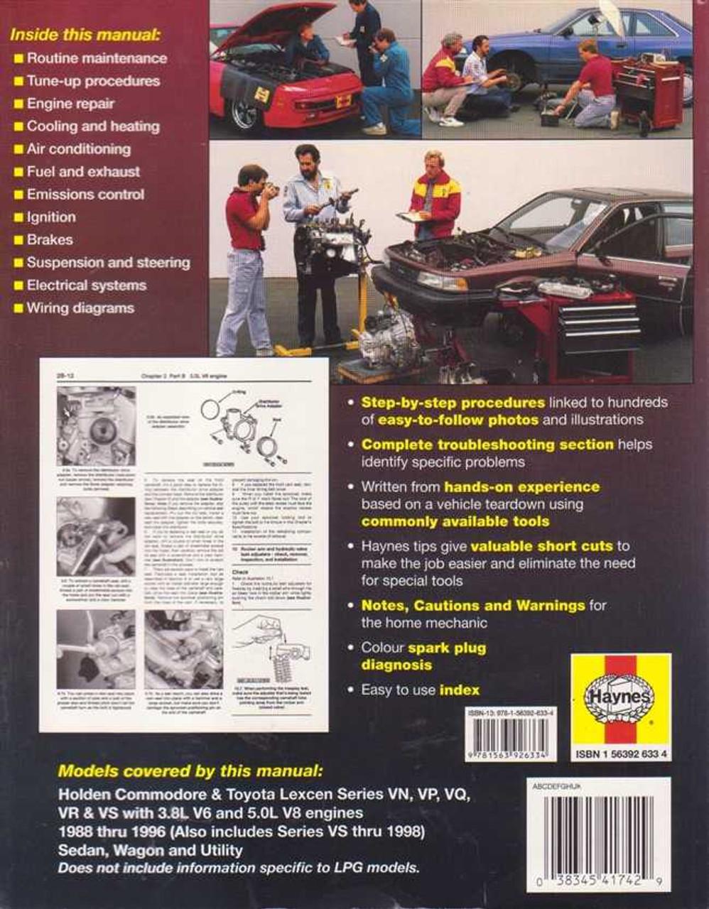 Holden Commodore, Toyota Lexcen Series VN, VP, VQ, VR, VS 1988 - 2000  Workshop Manual