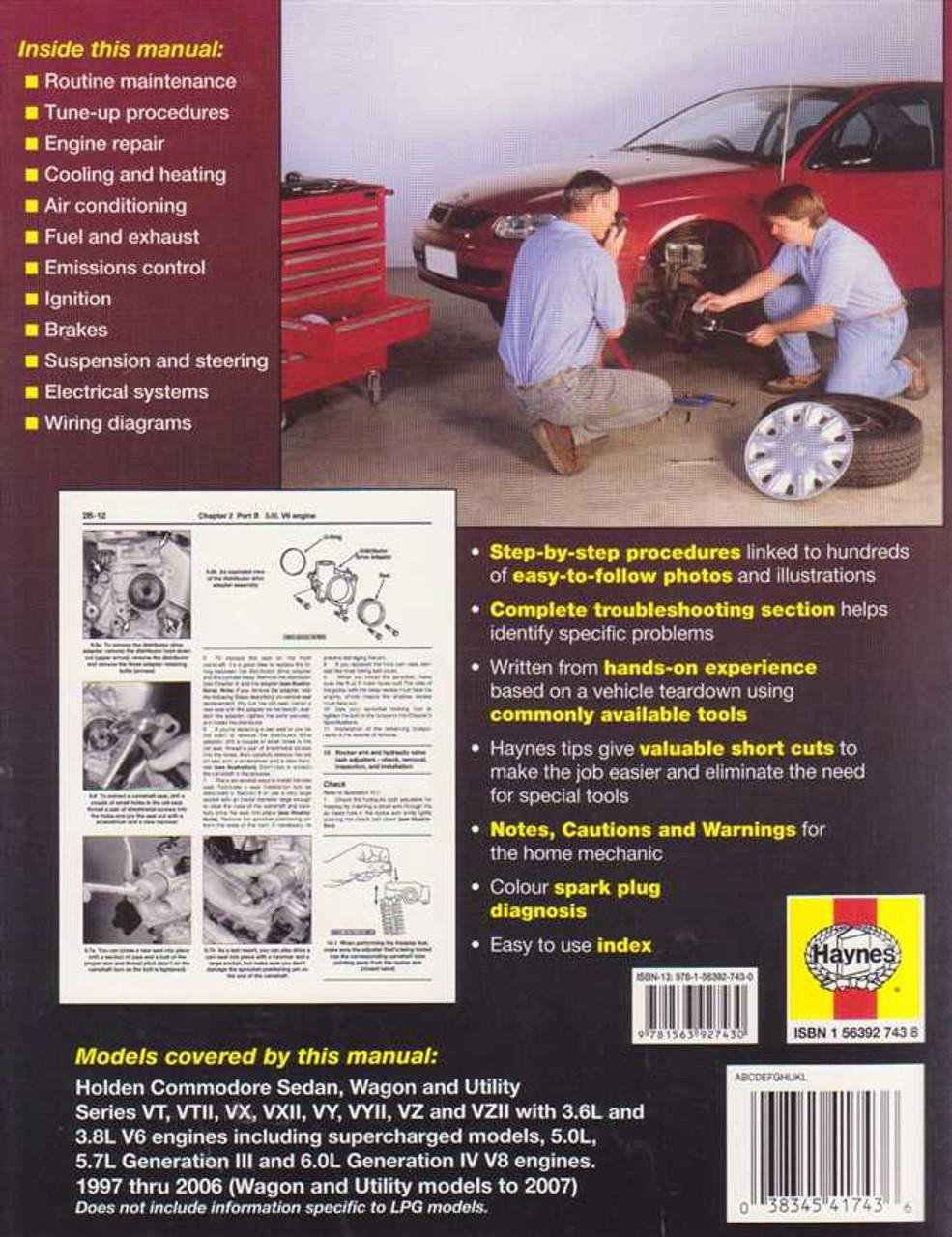 Holden Commodore VT, VTII, VX, VXII, VY, VYII, VZ, VZII Series 1997 on