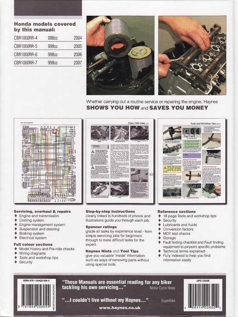 Honda CBR1000RR Fireblade 2004 to 2007 Workshop Manual on