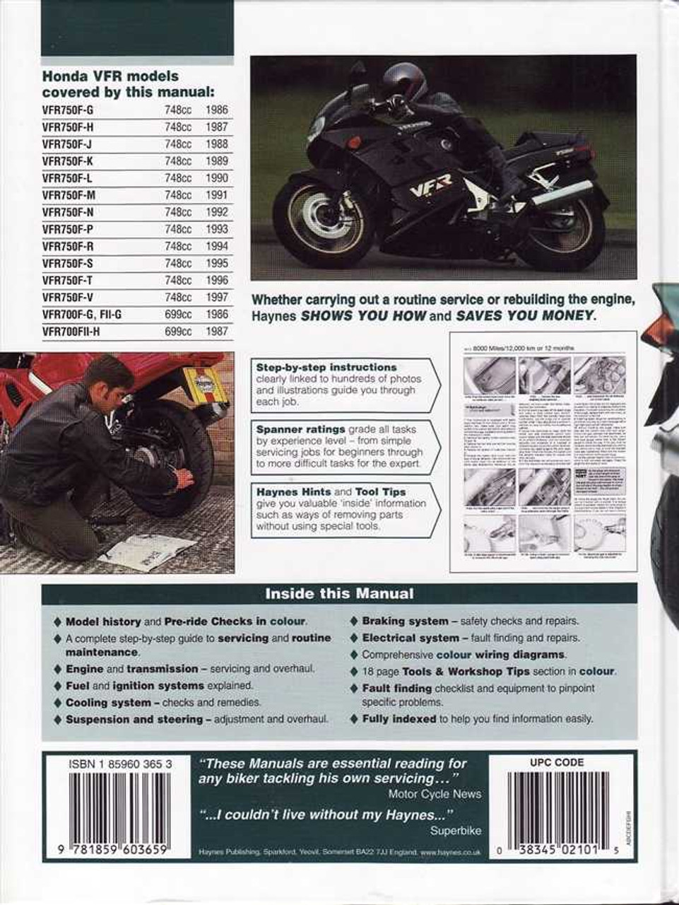 Honda Vfr750 Vfr700 V Fours 1986 1997 Workshop Manual