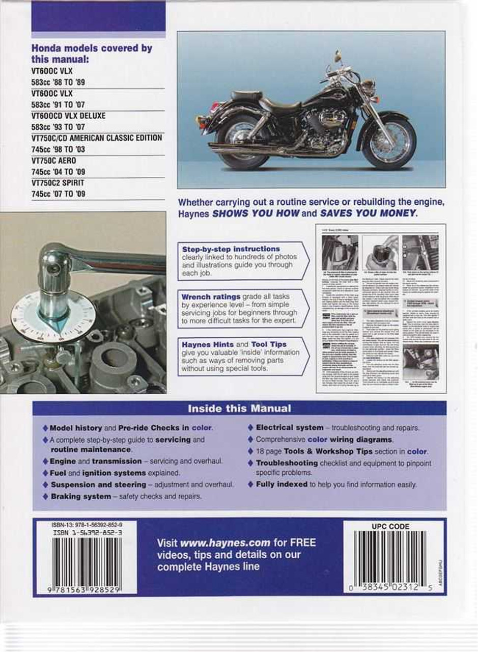 Honda Shadow VT600, VT750 1988 - 2009 Workshop Manual