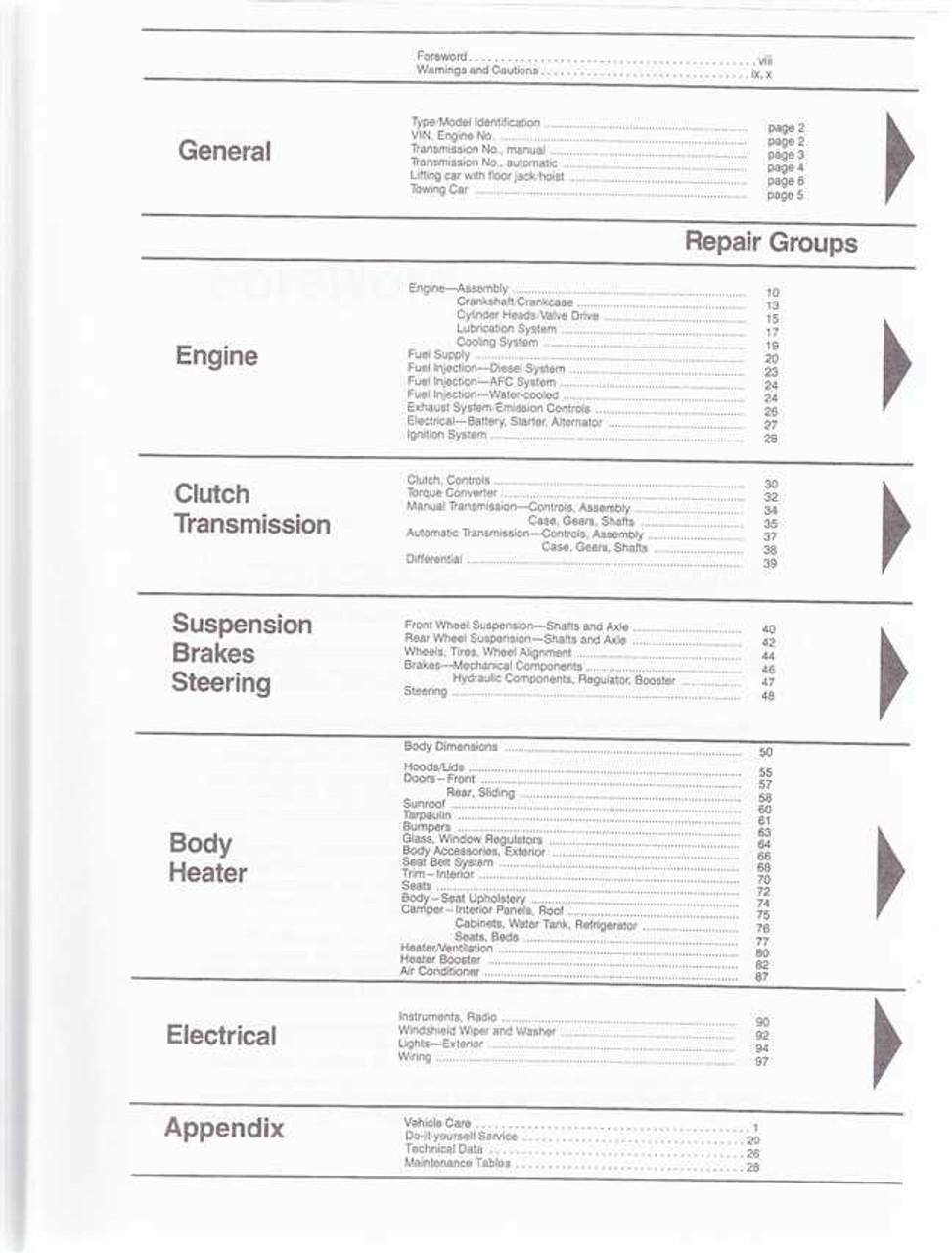 Volkswagen Vanagon (inc  Diesel, Syncro and Camper) 1980 - 1991 Workshop  Manual