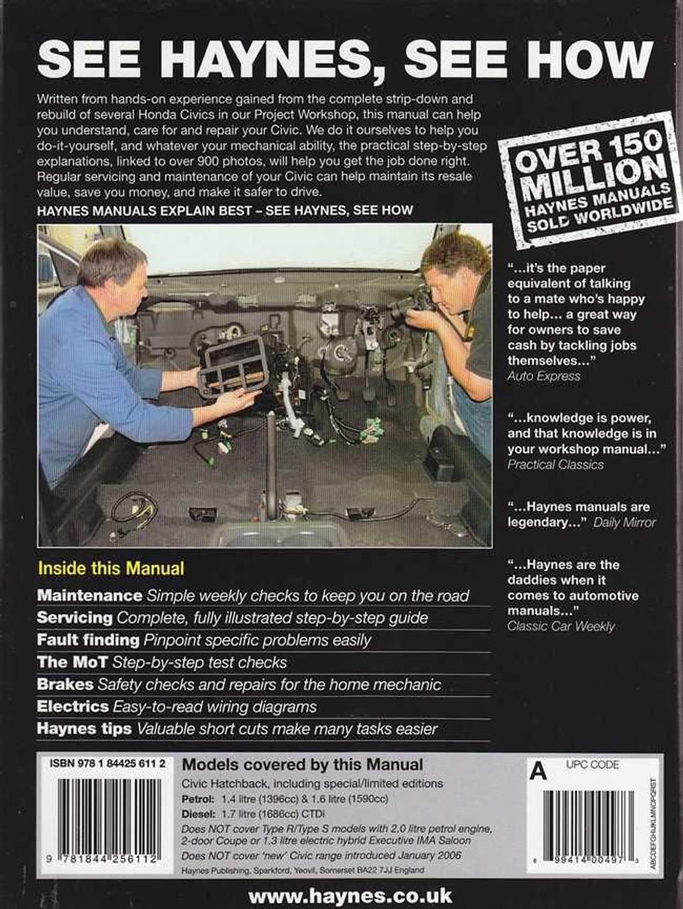 Honda Civic Petrol And Diesel 2001 2005 Workshop Manual