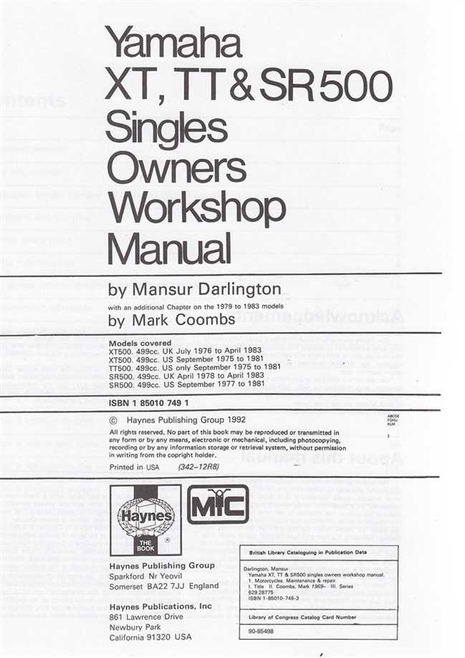 yamaha xt500 1975 1983 service repair manual