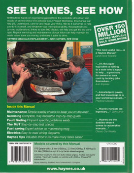 Volvo V70 Diesel 2007-2012 Repair Manual (back cover)