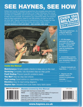 Peugeot 308 2007 - 2012 Petrol & Diesel Repair Manual, back cover