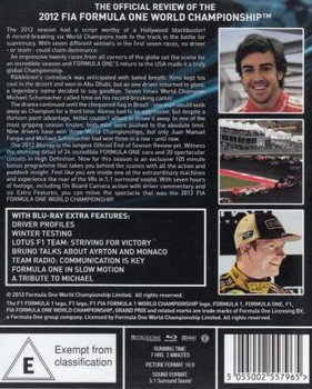 Formula One 2012 The Official Review blu-ray back cover