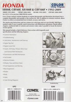 Honda XR80R, CRF80F, XR100R, CRF100F 1992 - 2009 Workshop Manual Back Cover