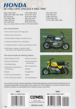 Honda 50 - 110cc OHC Singles 1965 - 1999 Workshop Manual back cover